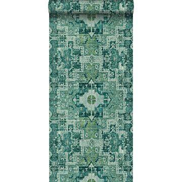 papel pintado alfombra Keilim de retazos vintage de Marrakech o de Ibiza verde esmeralda intenso de ESTA home