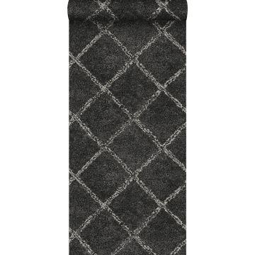 papel pintado alfombra bereber oriental negro con impresión en blanco mate de ESTA home