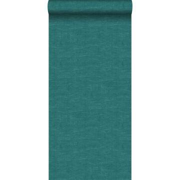papel pintado liso con efecto lino azul petroleo de ESTA home