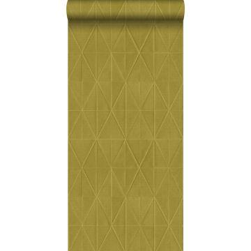 papel pintado con textura eco motivo de origami amarillo ocre de ESTA home