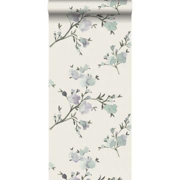 papel pintado con textura eco flores de cerezo beige y morado lila de ESTA home