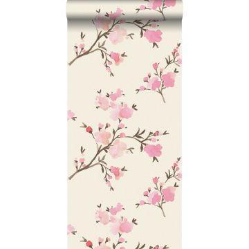papel pintado con textura eco flores de cerezo rosa de ESTA home