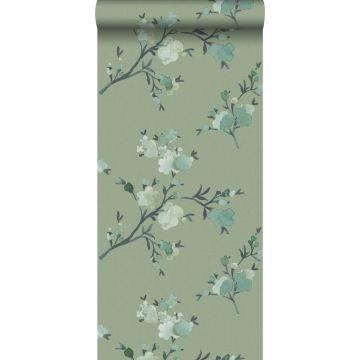 papel pintado con textura eco flores de cerezo verde de ESTA home