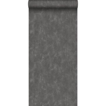 papel pintado liso con efecto pictórico gris oscuro de ESTA home