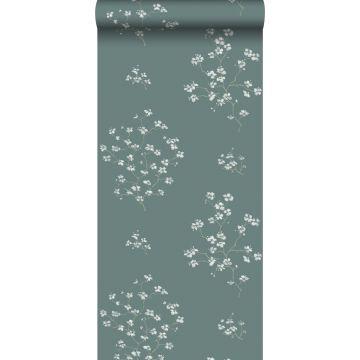 papel pintado ramas en flor verde pertróleo de ESTA home