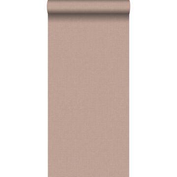 papel pintado liso efecto lino rosa claro borgoña de ESTA home