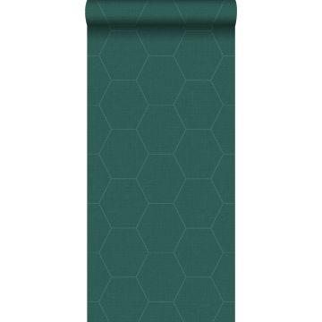 papel pintado hexágono verde pertróleo de ESTA home