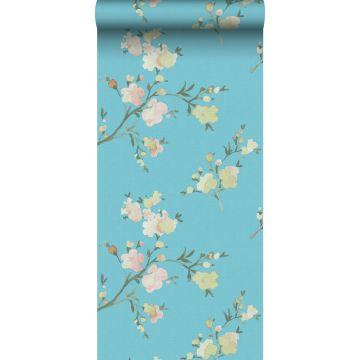 papel pintado con textura eco flores de cerezo azul-Van-Gogh de ESTA home