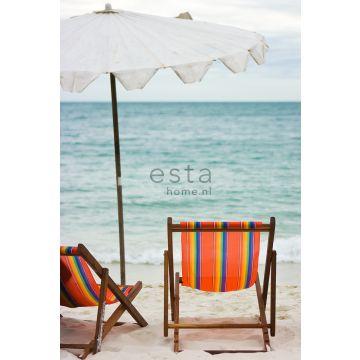 fotomural en la playa con vistas al mar verde mar y naranja de ESTA home
