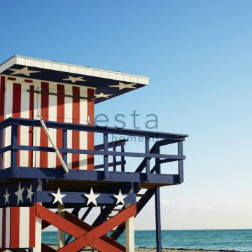 fotomural casa de playa rojo, blanco y azul de ESTA home