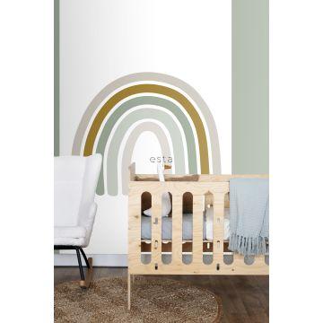 fotomural habitación de bebé arcoíris verde grisáceo, amarillo ocre y beige 159054