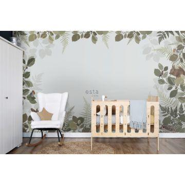 fotomural habitación de bebé animales del bosque verde y marrón 159101