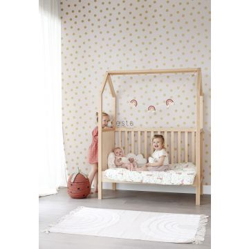 papel pintado dormitorio de niña puntos lunares rosa suave y oro 139244