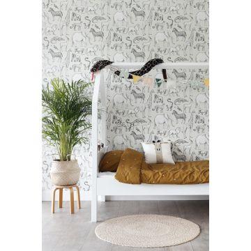 papel pintado habitación de niño animales de la selva beige y gris 139270