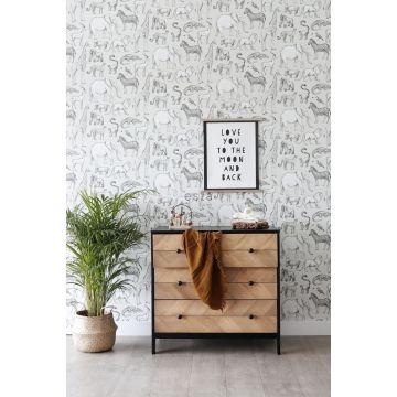 papel pintado habitación de bebé animales de la selva beige y gris 139270