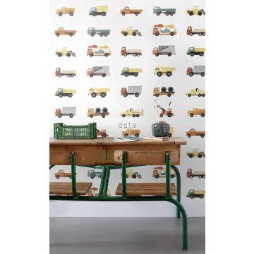 papel pintado XXL habitación de niño camiones y tractores amarillo, naranja y azul 159048
