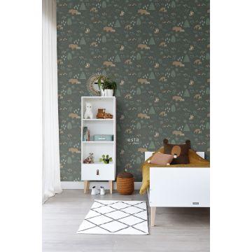 papel pintado habitación de niño bosque con animales del bosque verde oscuro y beige 139249