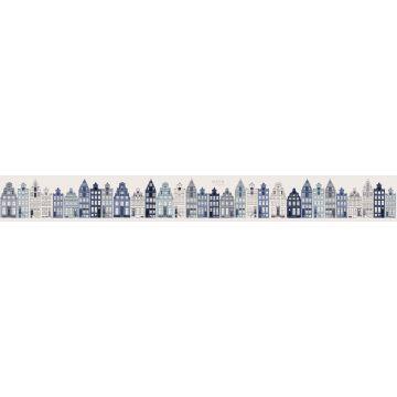 cenefa de papel pintado XXL casas de amsterdam azul de ESTA home