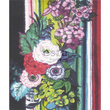 fotomural flores negro, rojo, azul, blanco y verde de ESTA home