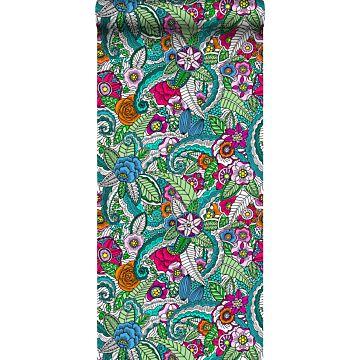 papel pintado XXL mandala flores rosa, verde, naranja, morado y azul de ESTA home