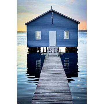 fotomural casa de playa azul, gris y rojo atardecer de ESTA home