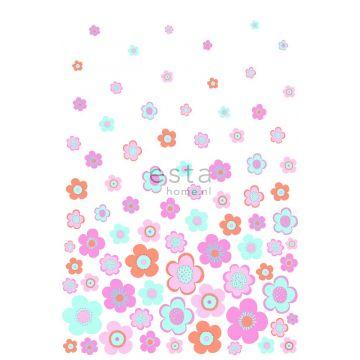 fotomural vintage flores turquesa, rosa y morado de ESTA home