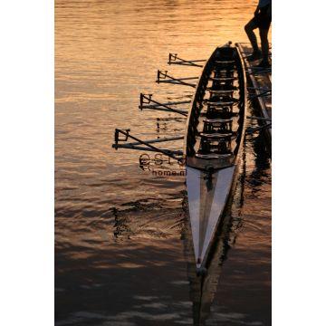 fotomural barco de remo al atardecer marrón y naranja de ESTA home
