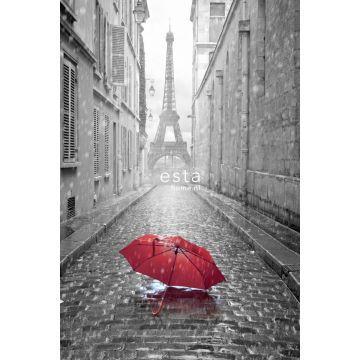 fotomural parís en blanco y negro con paraguas roja gris y rojo de ESTA home
