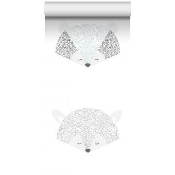 papel pintado XXL cabezas de animales gris claro y negro de ESTA home
