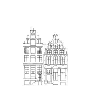 fotomural casas de los canales de Amsterdam dibujadas negro y blanco de ESTA home