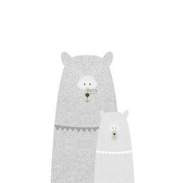 fotomural osos madre e hijo gris claro de ESTA home