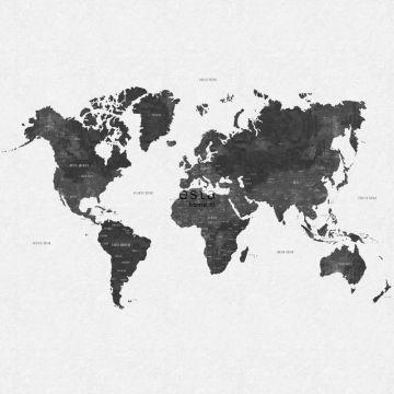 fotomural mapa del mundo vintage con textura de tejido gris negro de ESTA home