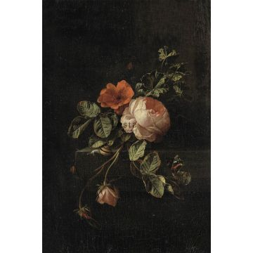 fotomural ramo de flores rojo oscuro y negro de ESTA home