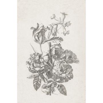 fotomural ramo de flores blanco y negro de ESTA home