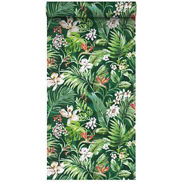 papel pintado XXL hojas y flores tropicales verde esmeralda de ESTA home