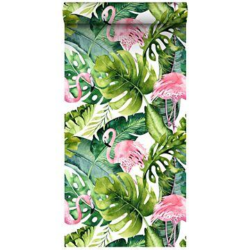 papel pintado XXL hojas tropicales con flamencos verde y rosa de ESTA home