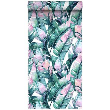 papel pintado XXL hojas de banano turquesa y rosa de ESTA home