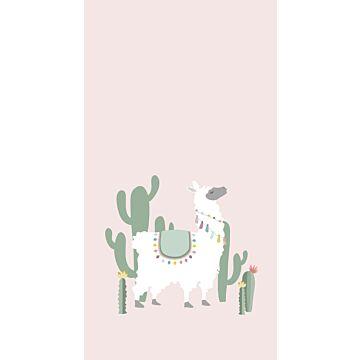 fotomural alpaca rosa suave y verde de ESTA home