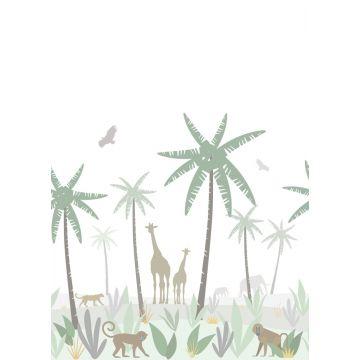 fotomural animales de la selva verde, gris y marrón de ESTA home