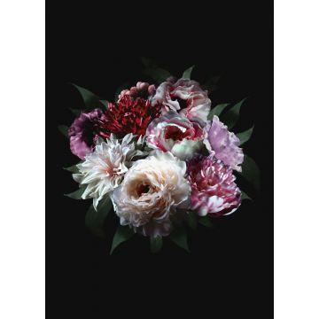fotomural ramo de flores multi color sobre negro de ESTA home