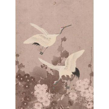 fotomural pájaros grulla rosa gris de ESTA home