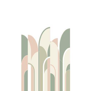 fotomural arte deco verde grisáceo, rosa melocotón y blanco de ESTA home