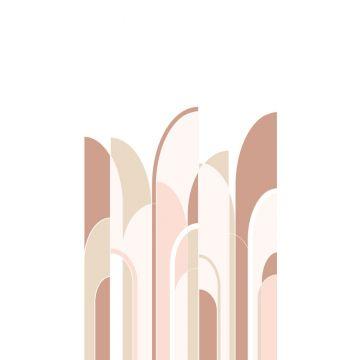 fotomural arte deco rojo barro cocido y rosa suave de ESTA home