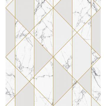 fotomural marmol blanco y negro, gris y oro de ESTA home