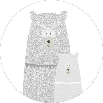 mural redondo autoadhesivo osos madre e hijo gris claro de ESTA home