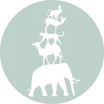 mural redondo autoadhesivo animales apilados menta verde y blanco de ESTA home