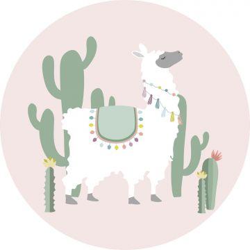 mural redondo autoadhesivo alpaca rosa y verde de ESTA home