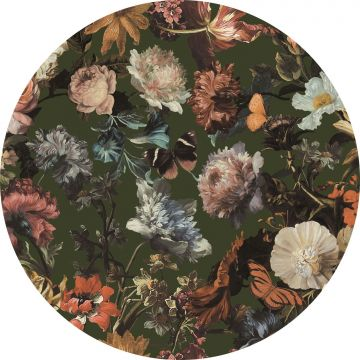 mural redondo autoadhesivo flores verde oliva agrisado de ESTA home