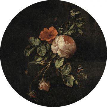 mural redondo autoadhesivo ramo de flores rojo oscuro y negro de ESTA home
