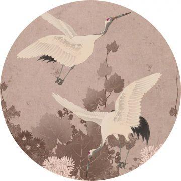 mural redondo autoadhesivo pájaros grulla rosa gris de ESTA home